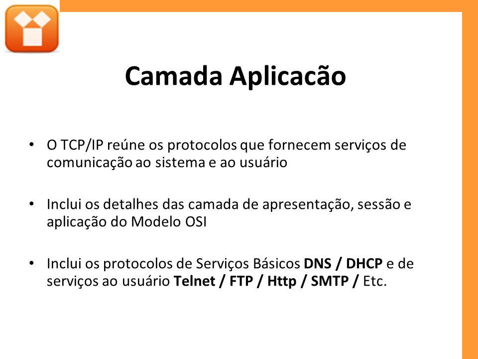 Camada Aplicacão O TCP/IP reúne os protocolos que fornecem serviços de comunicação ao sistema e ao usuário.