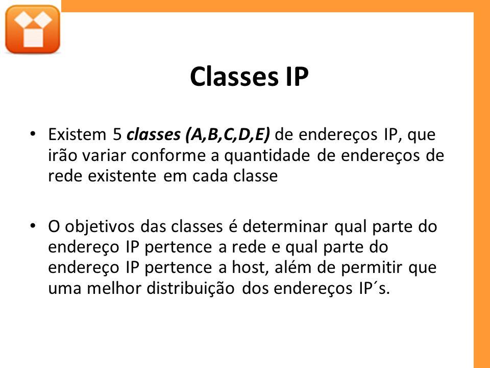 Classes IP Existem 5 classes (A,B,C,D,E) de endereços IP, que irão variar conforme a quantidade de endereços de rede existente em cada classe.