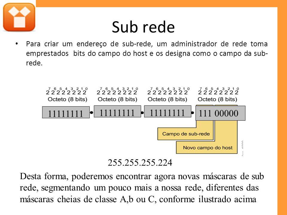 Sub rede Para criar um endereço de sub-rede, um administrador de rede toma emprestados bits do campo do host e os designa como o campo da sub-rede.
