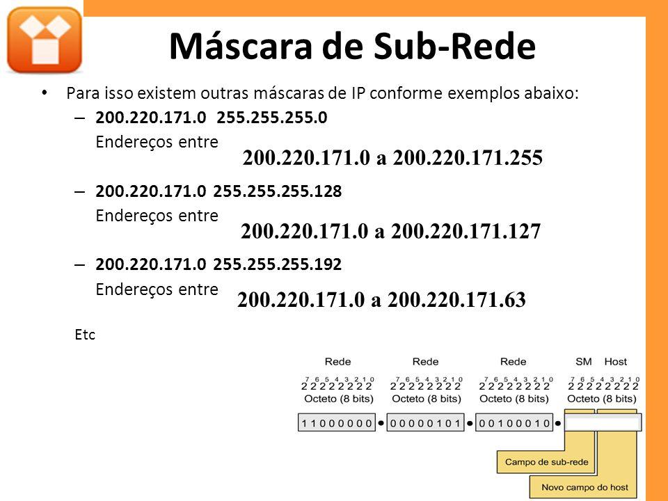 Máscara de Sub-Rede Para isso existem outras máscaras de IP conforme exemplos abaixo: 200.220.171.0 255.255.255.0.