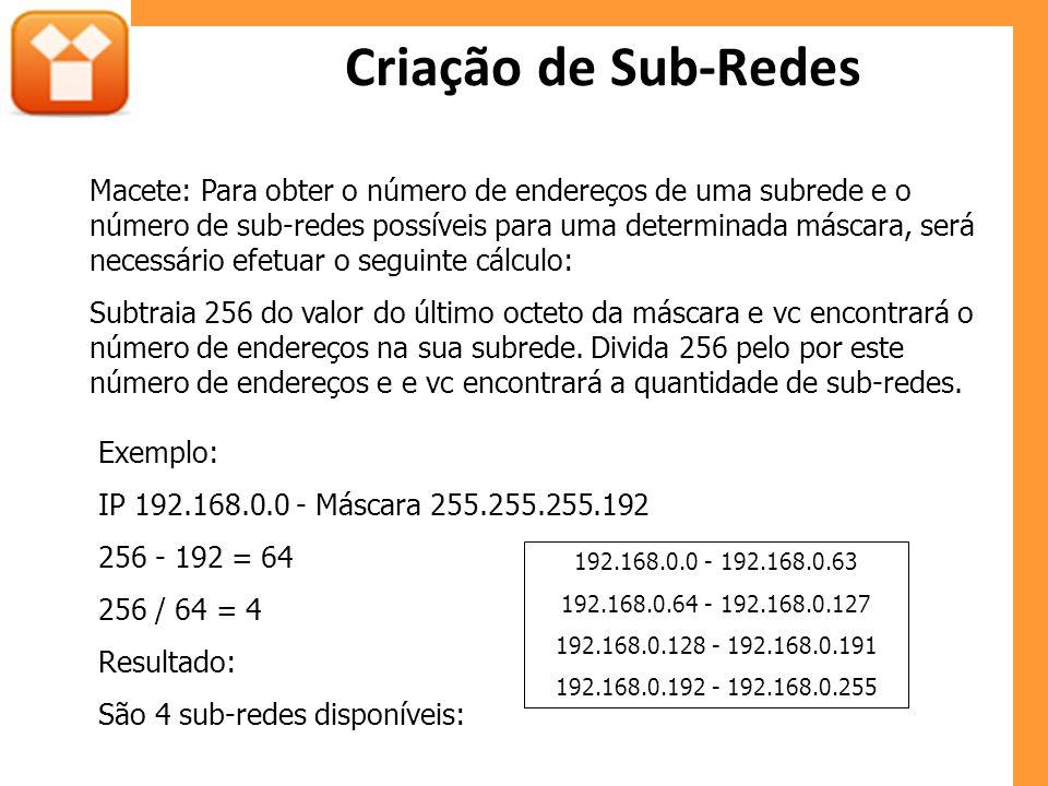 Criação de Sub-Redes