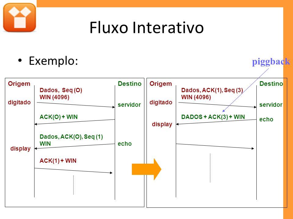 Fluxo Interativo Exemplo: piggback Destino Origem Origem Destino