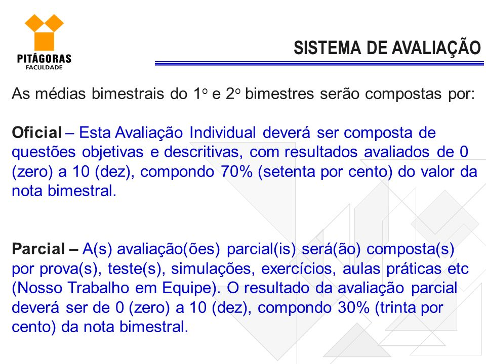 SISTEMA DE AVALIAÇÃO As médias bimestrais do 1o e 2o bimestres serão compostas por: