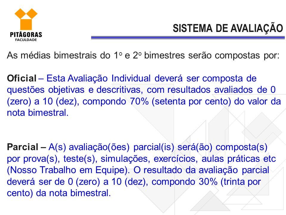 SISTEMA DE AVALIAÇÃOAs médias bimestrais do 1o e 2o bimestres serão compostas por:
