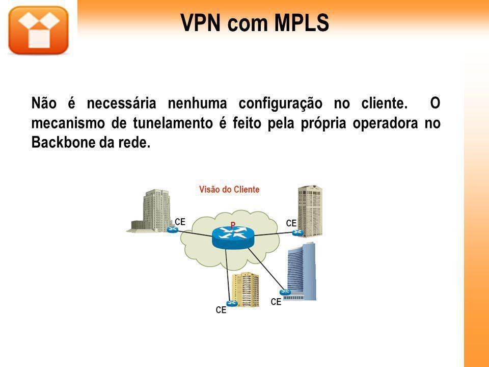 VPN com MPLS Não é necessária nenhuma configuração no cliente.