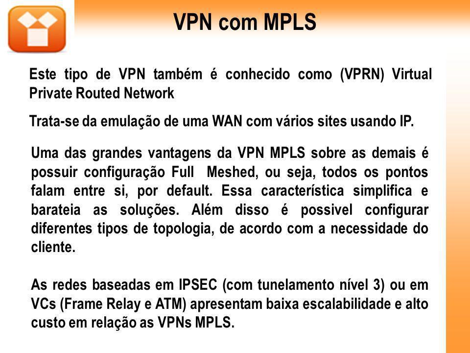 VPN com MPLS Este tipo de VPN também é conhecido como (VPRN) Virtual Private Routed Network.