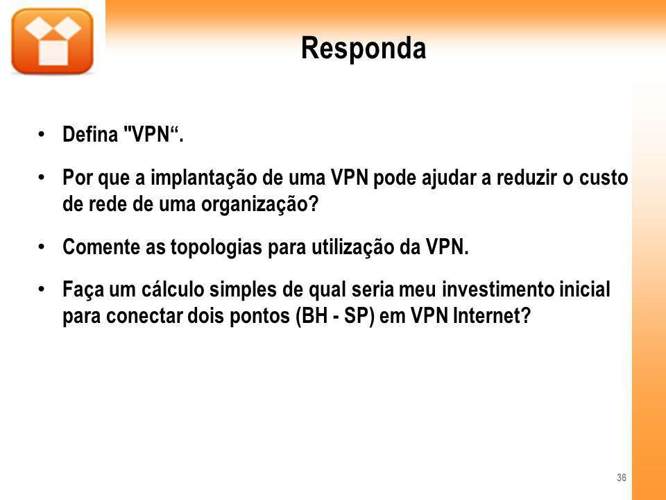 Responda Defina VPN . Por que a implantação de uma VPN pode ajudar a reduzir o custo de rede de uma organização