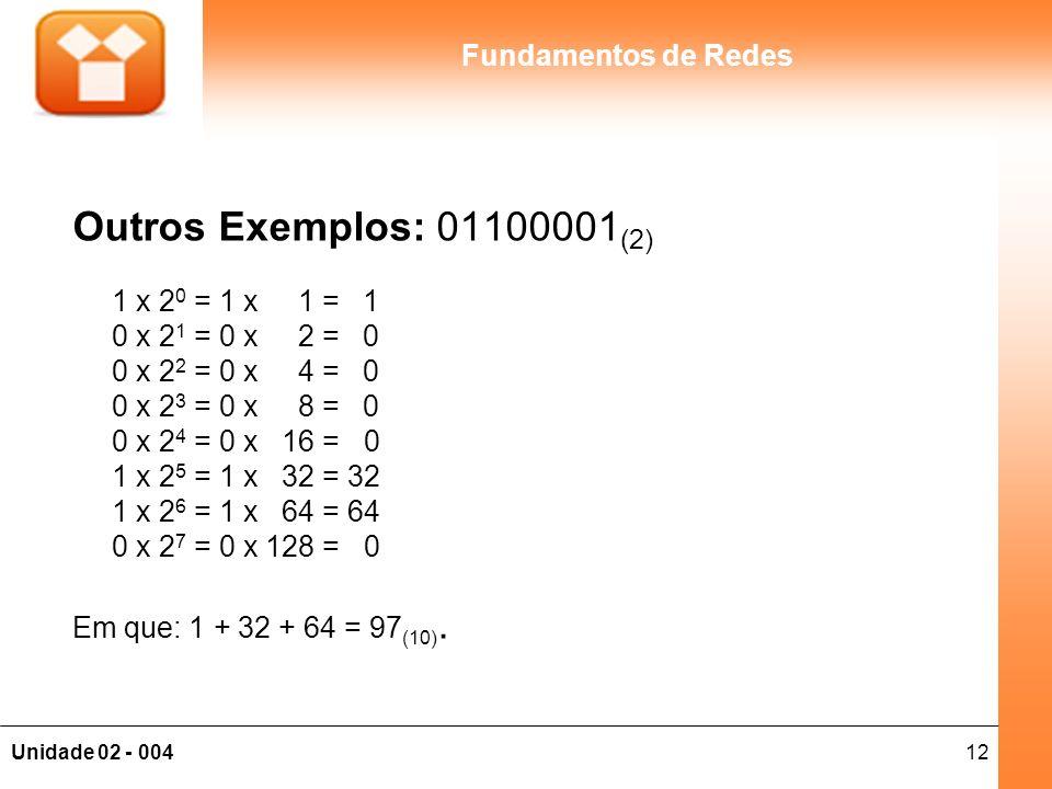 Outros Exemplos: 01100001(2) 1 x 20 = 1 x 1 = 1 0 x 21 = 0 x 2 = 0 0 x 22 = 0 x 4 = 0 0 x 23 = 0 x 8 = 0 0 x 24 = 0 x 16 = 0 1 x 25 = 1 x 32 = 32 1 x 26 = 1 x 64 = 64 0 x 27 = 0 x 128 = 0