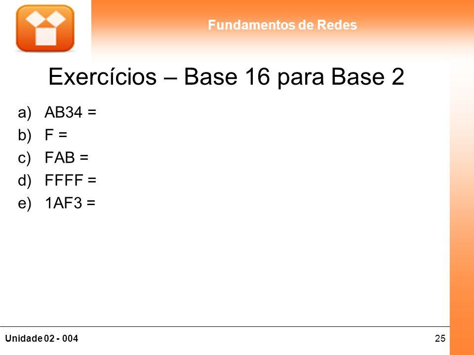 Exercícios – Base 16 para Base 2