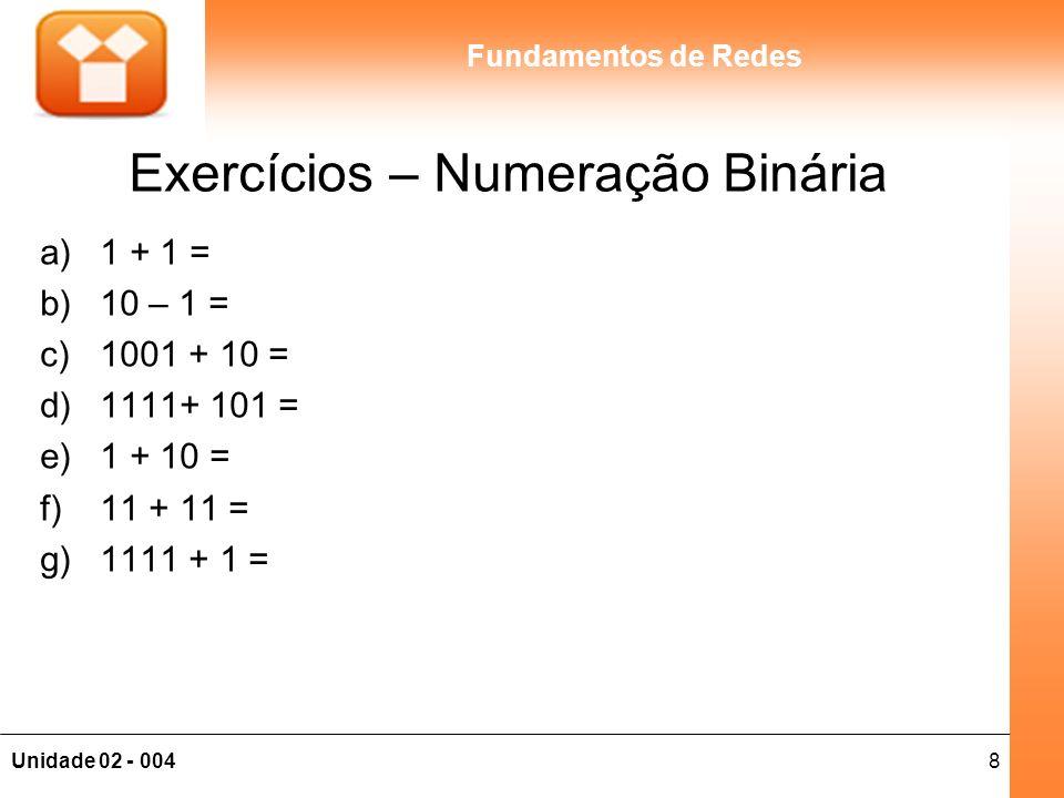 Exercícios – Numeração Binária