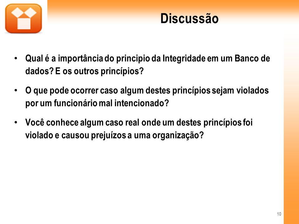 Discussão Qual é a importância do principio da Integridade em um Banco de dados E os outros princípios