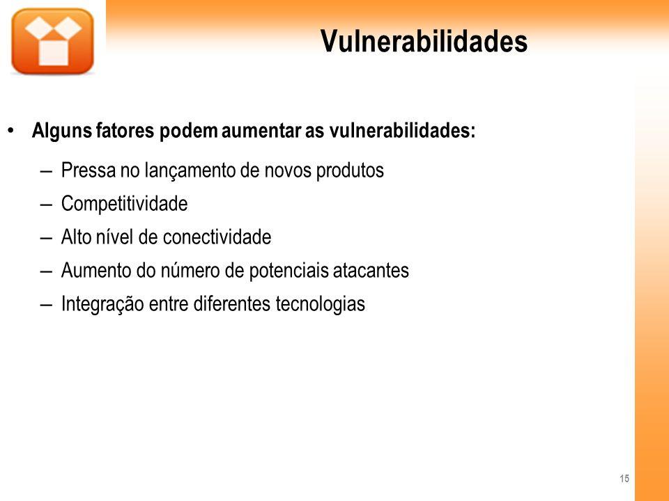 Vulnerabilidades Alguns fatores podem aumentar as vulnerabilidades: