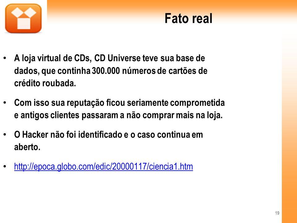 Fato real A loja virtual de CDs, CD Universe teve sua base de dados, que continha 300.000 números de cartões de crédito roubada.