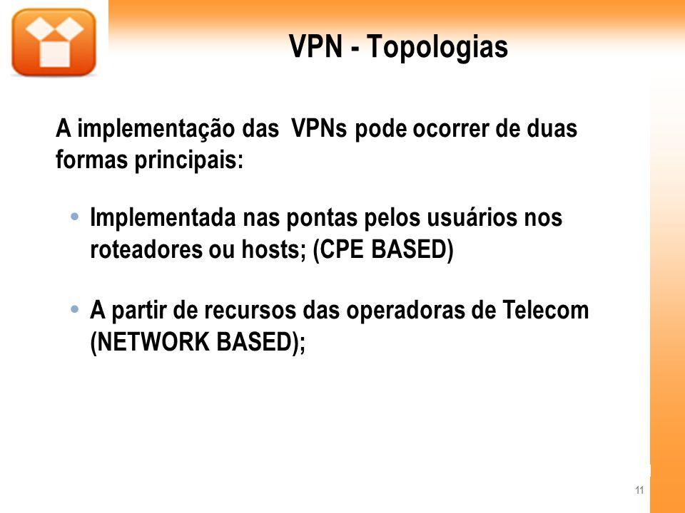 VPN - Topologias A implementação das VPNs pode ocorrer de duas formas principais: