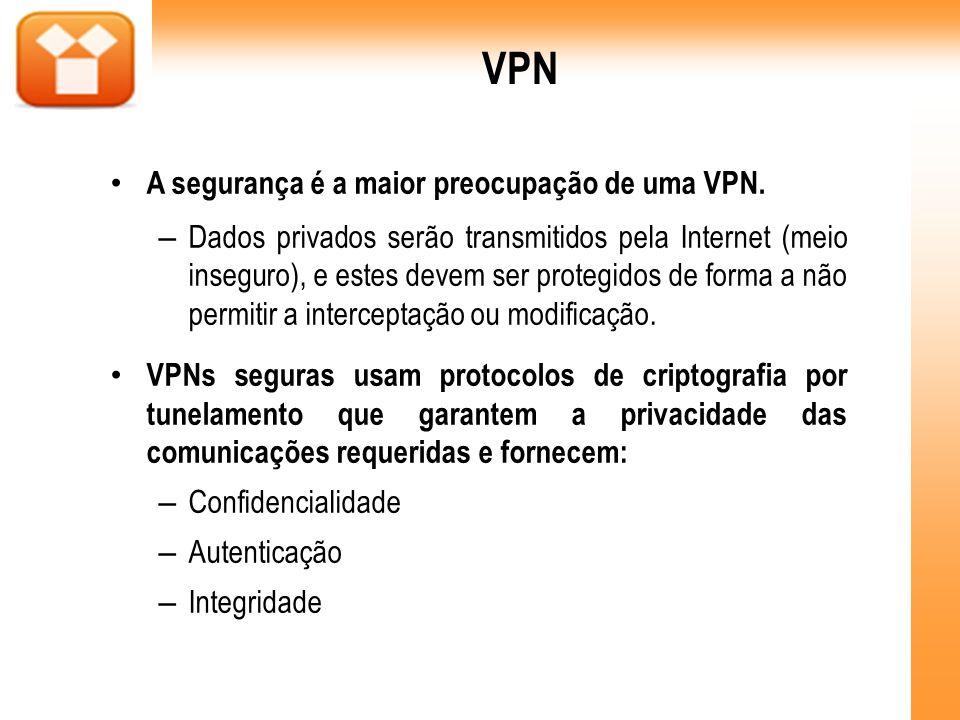 VPN A segurança é a maior preocupação de uma VPN.