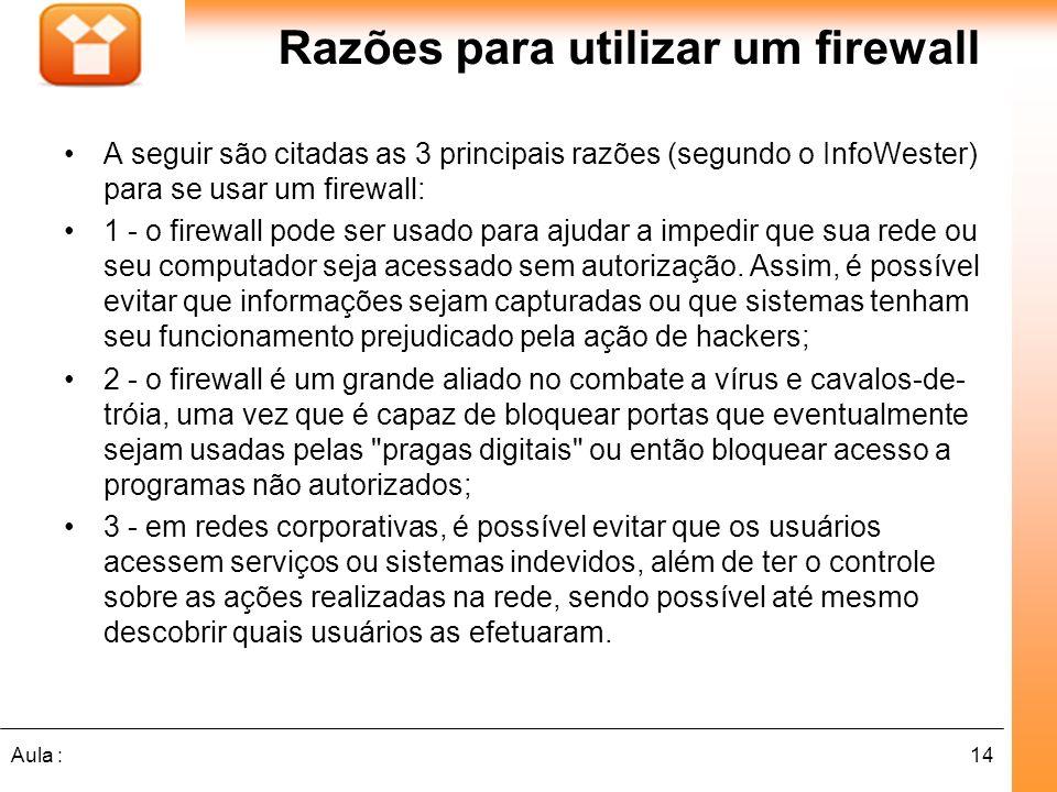 Razões para utilizar um firewall