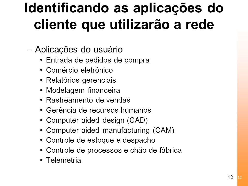 Identificando as aplicações do cliente que utilizarão a rede