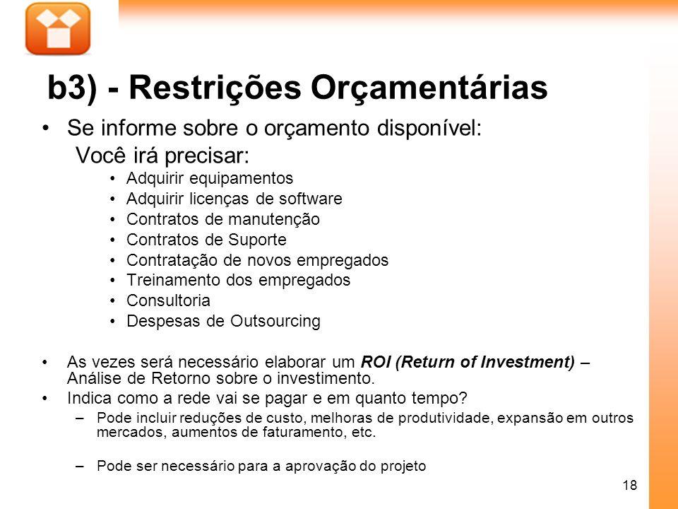 b3) - Restrições Orçamentárias