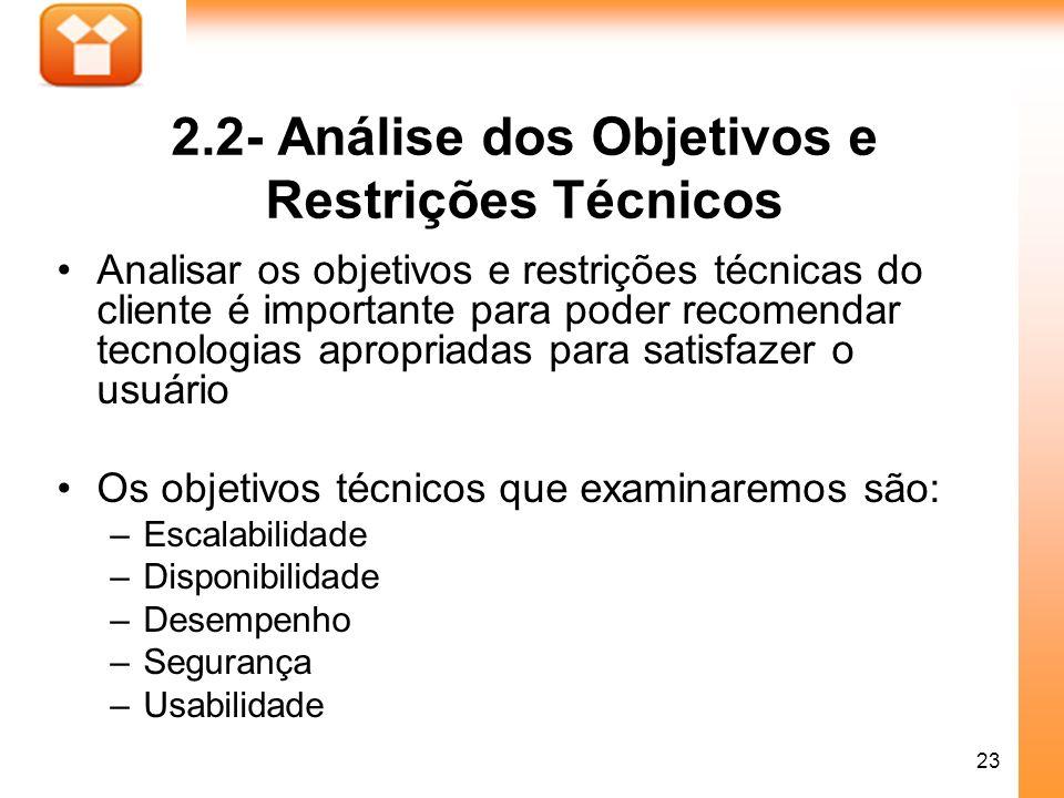 2.2- Análise dos Objetivos e Restrições Técnicos
