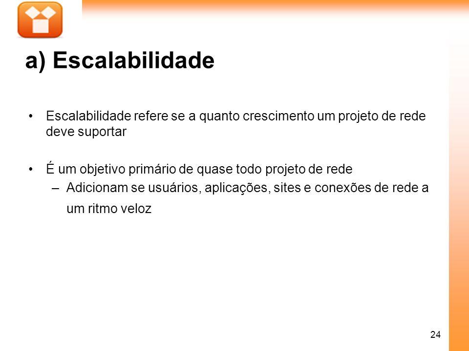 a) Escalabilidade Escalabilidade refere se a quanto crescimento um projeto de rede deve suportar.