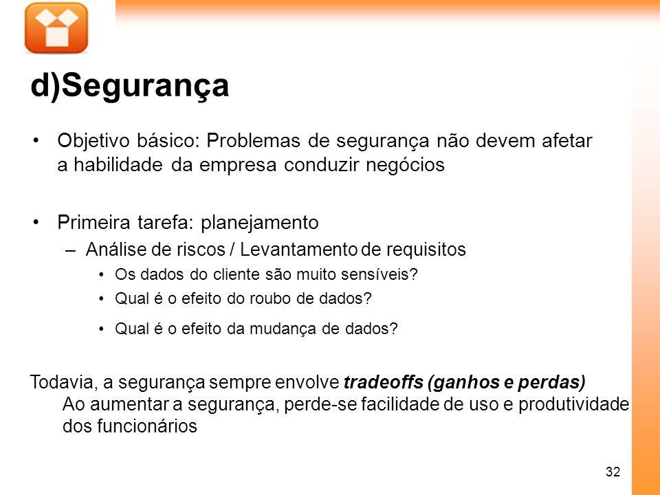 d)Segurança Objetivo básico: Problemas de segurança não devem afetar a habilidade da empresa conduzir negócios.