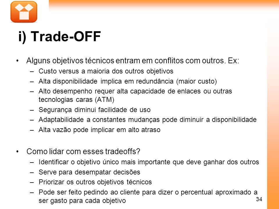 i) Trade-OFF Alguns objetivos técnicos entram em conflitos com outros. Ex: Custo versus a maioria dos outros objetivos.