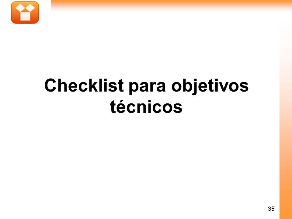 Checklist para objetivos técnicos