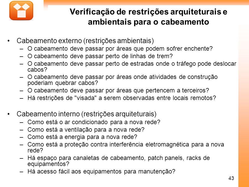 Verificação de restrições arquiteturais e ambientais para o cabeamento