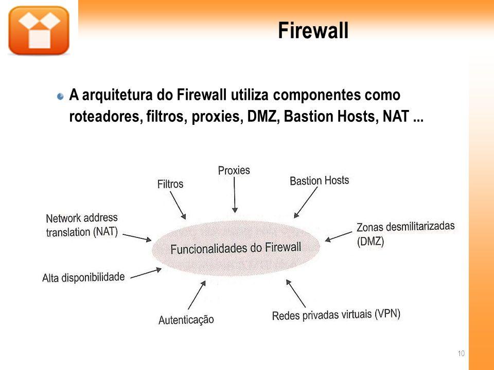 FirewallA arquitetura do Firewall utiliza componentes como roteadores, filtros, proxies, DMZ, Bastion Hosts, NAT ...