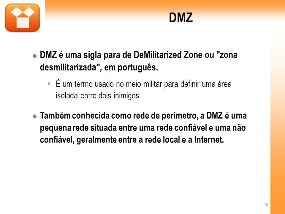 DMZ DMZ é uma sigla para de DeMilitarized Zone ou zona desmilitarizada , em português.