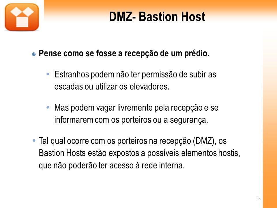 DMZ- Bastion Host Pense como se fosse a recepção de um prédio.