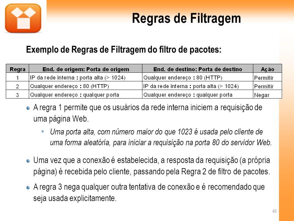 Regras de Filtragem Exemplo de Regras de Filtragem do filtro de pacotes: