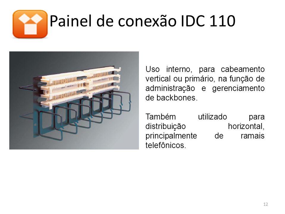 Painel de conexão IDC 110 Uso interno, para cabeamento vertical ou primário, na função de administração e gerenciamento de backbones.