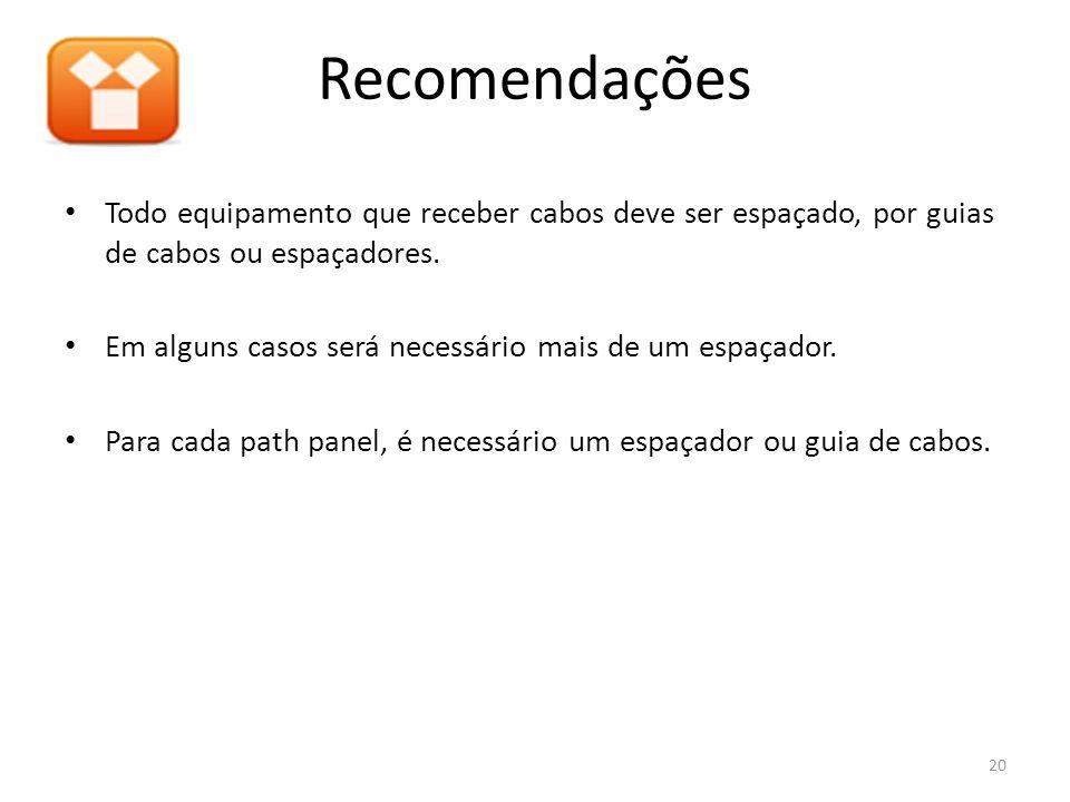 Recomendações Todo equipamento que receber cabos deve ser espaçado, por guias de cabos ou espaçadores.