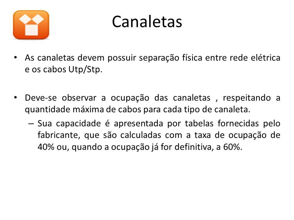 Canaletas As canaletas devem possuir separação física entre rede elétrica e os cabos Utp/Stp.
