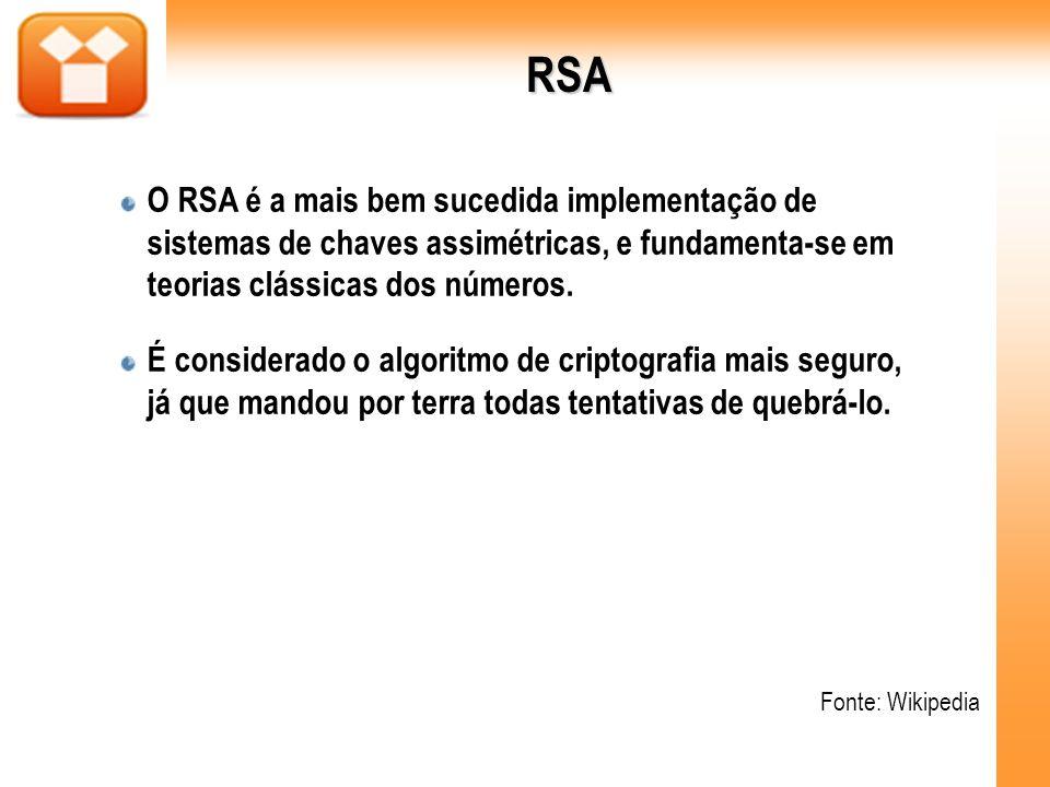 RSA O RSA é a mais bem sucedida implementação de sistemas de chaves assimétricas, e fundamenta-se em teorias clássicas dos números.