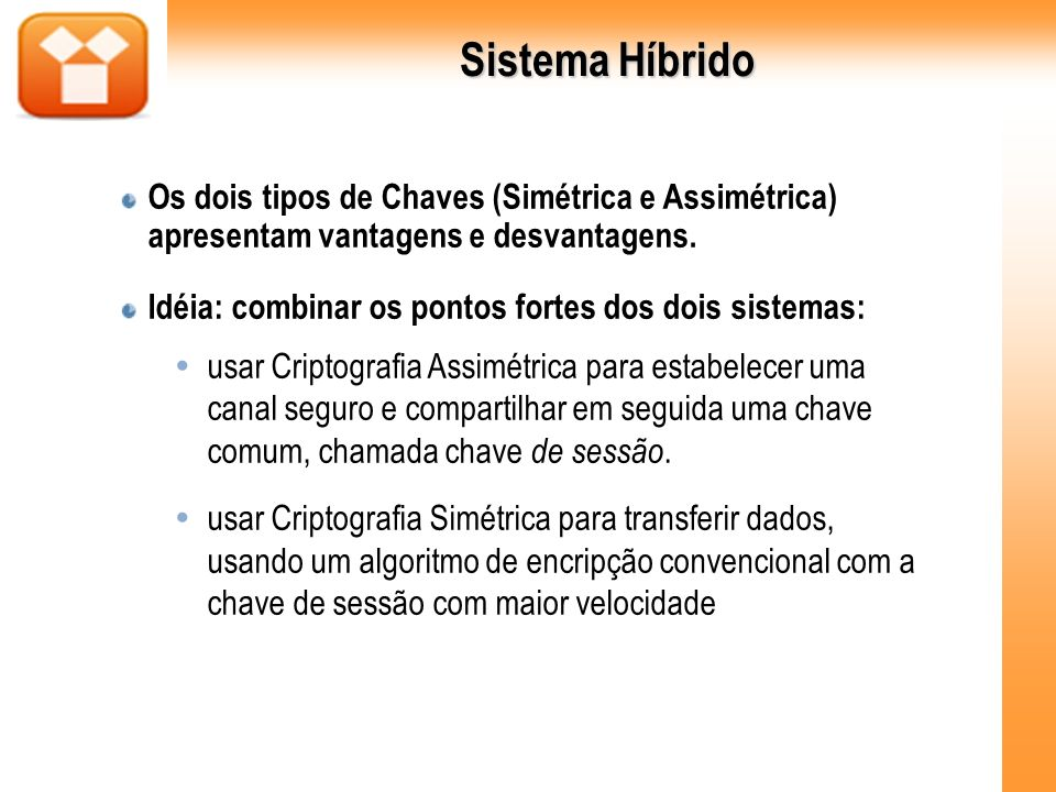 Sistema HíbridoOs dois tipos de Chaves (Simétrica e Assimétrica) apresentam vantagens e desvantagens.