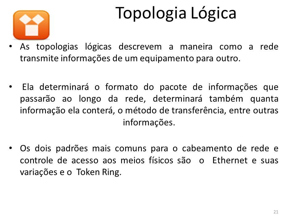 Topologia LógicaAs topologias lógicas descrevem a maneira como a rede transmite informações de um equipamento para outro.