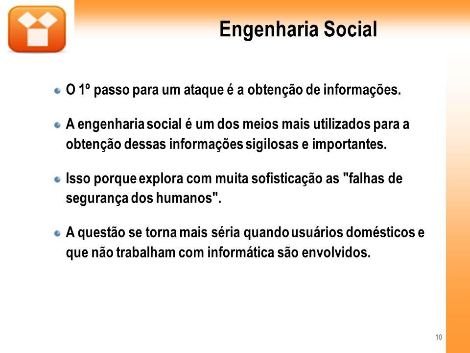 Engenharia Social O 1º passo para um ataque é a obtenção de informações.