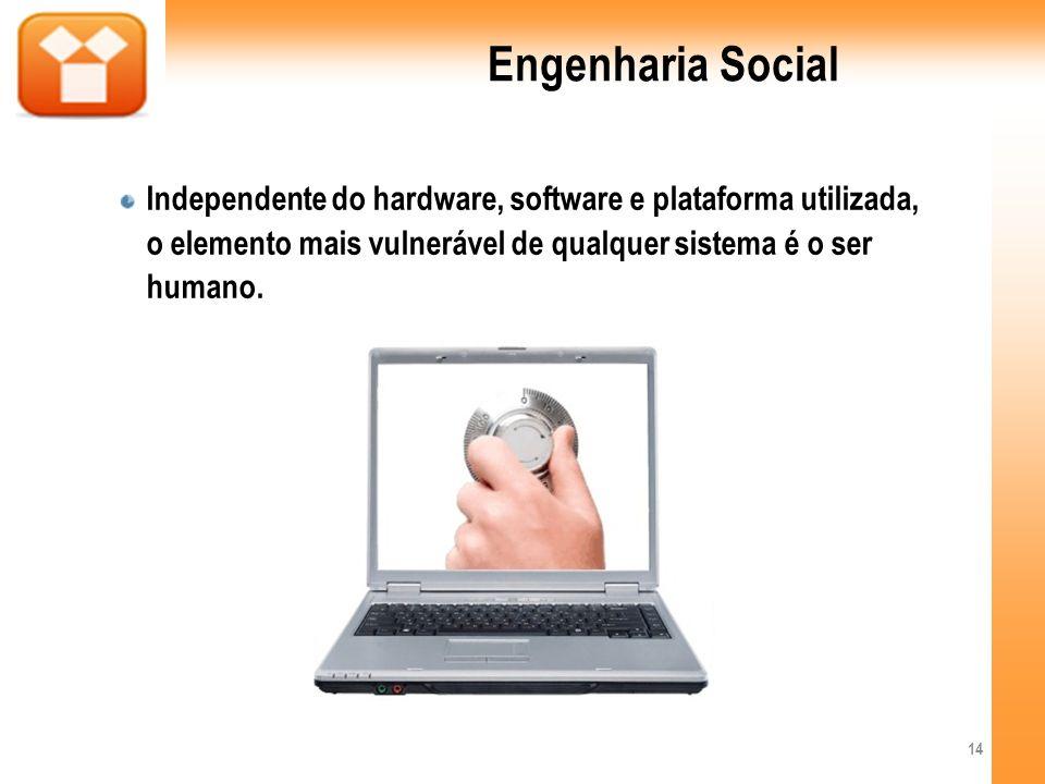 Engenharia SocialIndependente do hardware, software e plataforma utilizada, o elemento mais vulnerável de qualquer sistema é o ser humano.