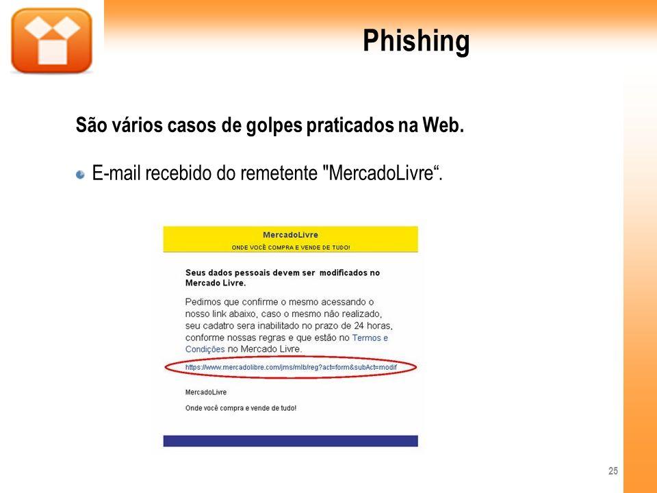 Phishing São vários casos de golpes praticados na Web.