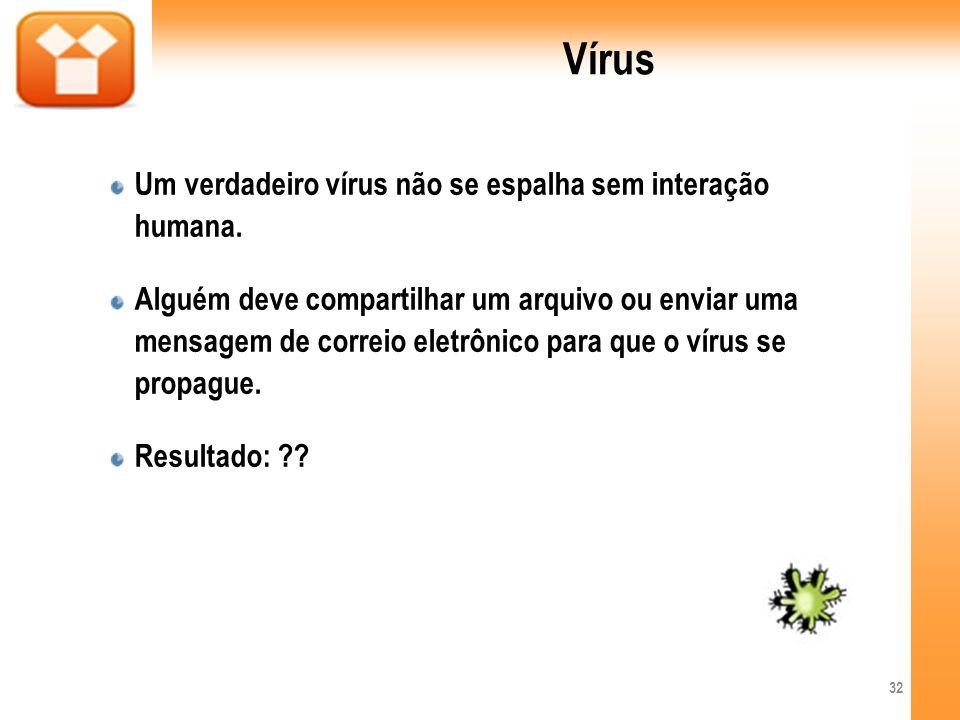 Vírus Um verdadeiro vírus não se espalha sem interação humana.
