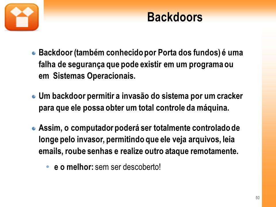 BackdoorsBackdoor (também conhecido por Porta dos fundos) é uma falha de segurança que pode existir em um programa ou em Sistemas Operacionais.