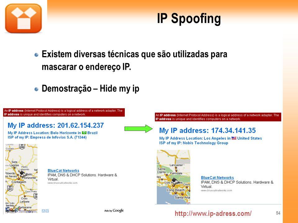 IP Spoofing Existem diversas técnicas que são utilizadas para mascarar o endereço IP. Demostração – Hide my ip.