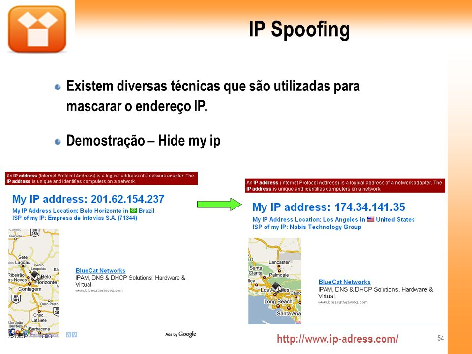 IP SpoofingExistem diversas técnicas que são utilizadas para mascarar o endereço IP. Demostração – Hide my ip.
