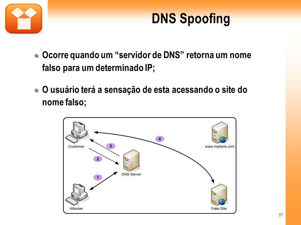DNS SpoofingOcorre quando um servidor de DNS retorna um nome falso para um determinado IP;