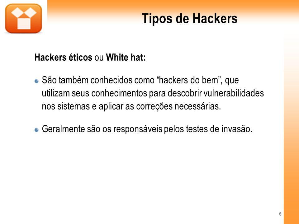 Tipos de Hackers Hackers éticos ou White hat: