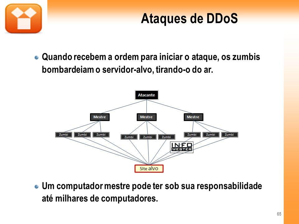 Ataques de DDoSQuando recebem a ordem para iniciar o ataque, os zumbis bombardeiam o servidor-alvo, tirando-o do ar.