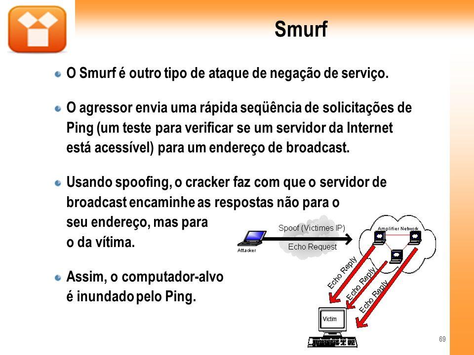 Smurf O Smurf é outro tipo de ataque de negação de serviço.