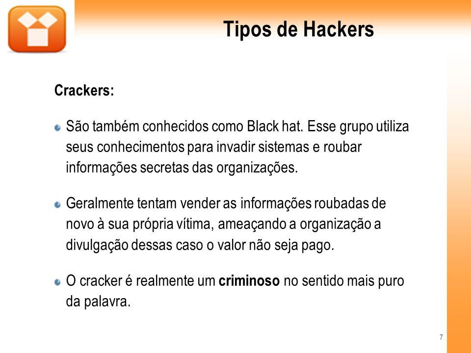 Tipos de Hackers Crackers: